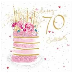 70 jaar - verjaardagskaart woodmansterne - happy 70th birthday - taart