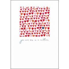 valentijnskaart woodmansterne - you are one in a million - hartjes