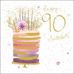 90 jaar - verjaardagskaart woodmansterne - happy 90th birthday - taart
