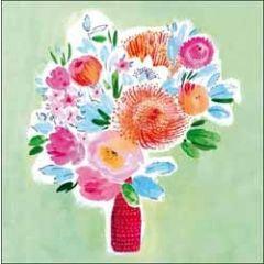 5 wenskaarten woodmansterne - bloemen in vaas