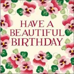 verjaardagskaart emma bridgewater - have a beautiful birthday - bloemen viooltjes