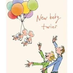 grote wenskaart quentin blake - new baby twins - tweeling