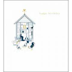 verjaardagskaart woodmansterne - happy birthday - schuurtje en kippen