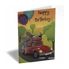 verjaardagskaart - happy birthday - hond in auto