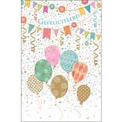 luxe wenskaart - gefeliciteerd - ballonnen