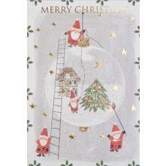 6  luxe kerstkaarten busquets - merry christmas - kerstmannen