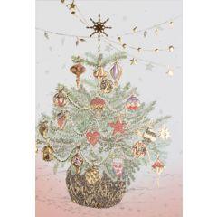 6  luxe kerstkaarten busquets - kerstboom met kerstballen en kerstster