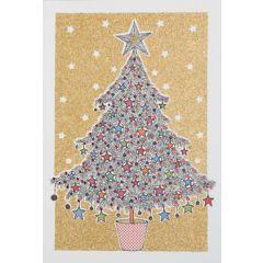 6  luxe kerstkaarten busquets - kerstboom - met glitter