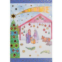 6 christelijke kerstkaarten busquets - kerststal