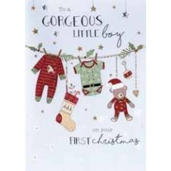 kerstkaart second nature - to gorgeous little boy on your first christmas