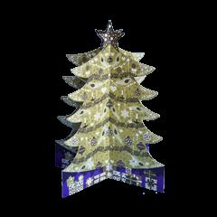3D adventskalender A3 met envelop - om neer te zetten- kerstboom goud