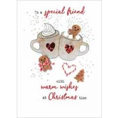 luxe kerstkaart - to a special friend with warm wishes at christmas time - chocolademelk