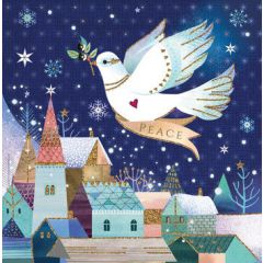 luxe kerstkaart second nature - peace - duif