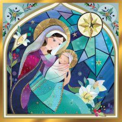 luxe christelijke kerstkaart second nature - maria en kind