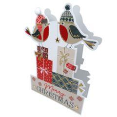 3d kerstkaart paper dazzle - merry christmas - roodborstjes
