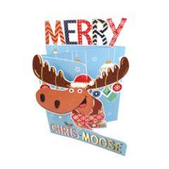 3d kerstkaart paper dazzle - merry chris-moose