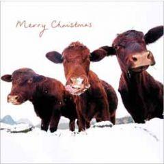 luxe kerstkaart woodmansterne - merry christmas - koeien in de sneeuw