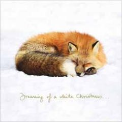 luxe kerstkaart woodmansterne - dreaming of a white christmas - vos in de sneeuw