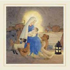 luxe christelijke kerstkaart woodmansterne - kerststal