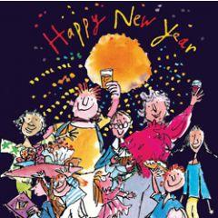 luxe nieuwjaarskaart quentin blake - happy new year - mensen proosten en vuurwerk