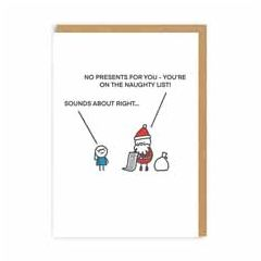 kerstkaart ohh deer - no presents for you naughty list | muller wenskaarten