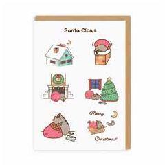 kerstkaart pusheen - santa claws merry christmas | muller wenskaarten