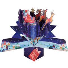 3D kerstkaart - pop up - merry christmas - kerstman