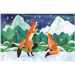 8 kerstkaartjes roger la borde - vossen vangen sneeuw   muller wenskaarten