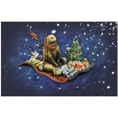 8 kerstkaartjes roger la borde - beer op vliegend tapijt   muller wenskaarten