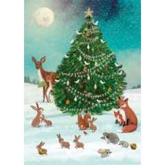 kerstkaart roger la borde - dieren en kerstboom