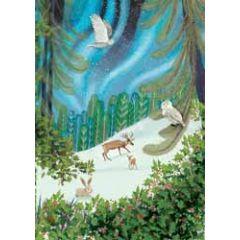 kerstkaart roger la borde - uilen herten konijn