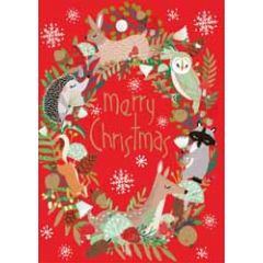 kerstkaart roger la borde - merry christmas - kerstkrans van dieren