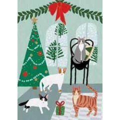 kerstkaart roger la borde - katten en kerstboom