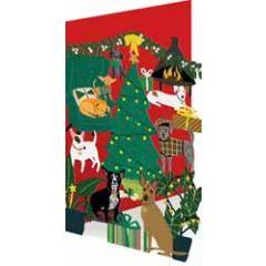laser gesneden kerstkaart roger la borde - honden bij kerstboom