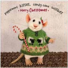 luxe kerstkaart santoro - tiny squee mousies - peppermint kisses candy cane wishes