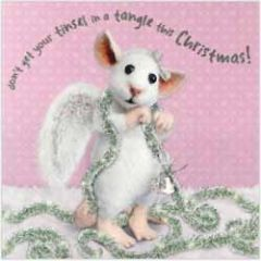 luxe kerstkaart santoro - tiny squee mousies - don t get your tinsel in a tangle this christmas