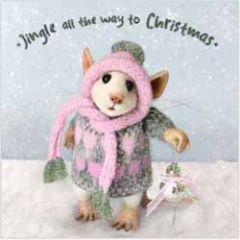 luxe kerstkaart santoro - tiny squee mousies - jingle all the way to christmas
