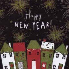 8 nieuwjaarskaarten - happy new year! - huizen en vuurwerk