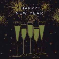 8 nieuwjaarskaarten - happy new year - champagne