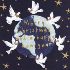 10 kerstkaarten voor amnesty international - merry christmas happy new year - vredesduif