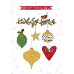 10 kerstkaarten boutique - merry christmas - kerstballen