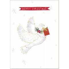 10 kerstkaarten boutique - merry christmas - duif