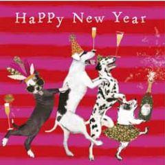 10 nieuwjaarskaartjes fancy pants - happy new year - honden