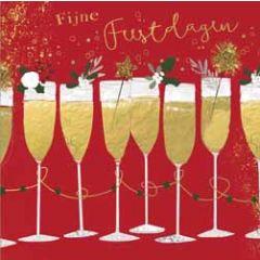 10 kerstkaartjes piano - fijne feestdagen - champagne