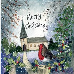 5 kerstkaarten alex clark - merry christmas - roodborstje bij kerk