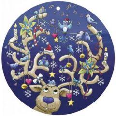 ronde kerst ansichtkaart met envelop - rendier