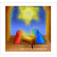 10 christelijke kerstkaarten muller wenskaarten - prettige kerstdagen, gelukkig nieuwjaar - kribbe onder ster