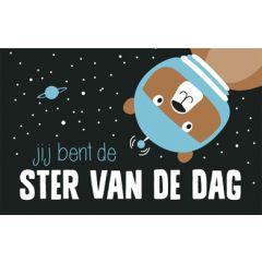 wenskaart - jij bent de ster van de dag - beer in de ruimte