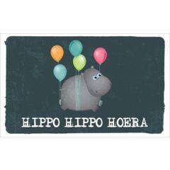verjaardagskaart - hippo hippo hoera - ballonnen