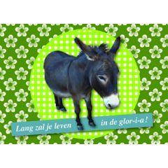 verjaardagskaart - lang zal je leven in de glor-i-a - ezel
